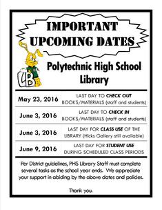Upcoming Important Library Dates