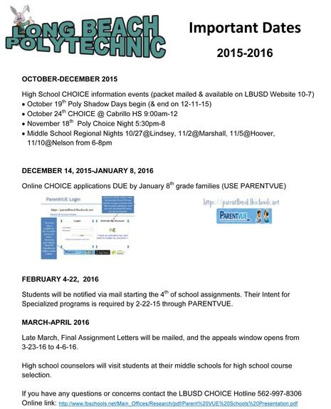 2015-16 Important Dates for Poly CHOICE