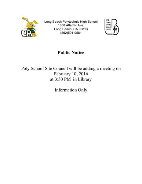 Public Notice of Meeting