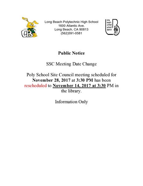 Notice of Meeting Date Change