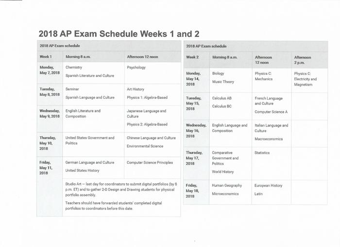 21018 AP Exam Schedule